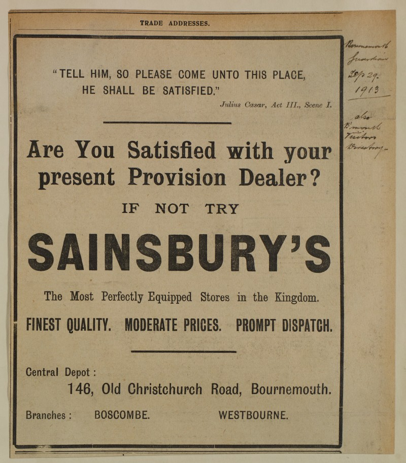 SA/MARK/ADV/1/1/1/1/1/6/1/163 - Newspaper advert in Trade Addresses section for quality and prices