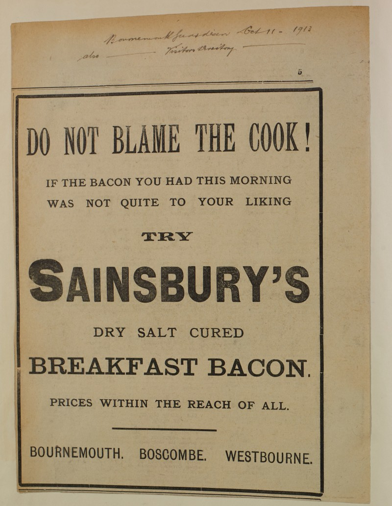 """SA/MARK/ADV/1/1/1/1/1/6/1/164 - """"Do not blame the cook!"""" advertisement for 'Sainsbury's Dry Salt Cured Breakfast Bacon' at Bournemouth, Boscombe and Westbourne branches"""