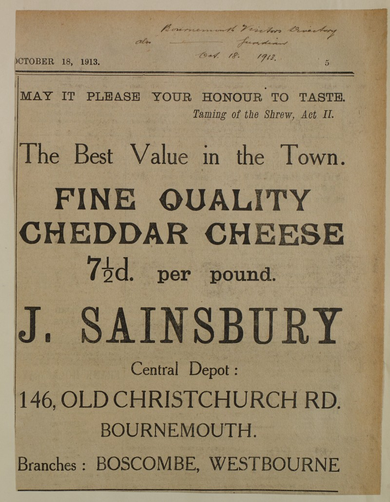 SA/MARK/ADV/1/1/1/1/1/6/1/165 - 'Fine Quality Cheddar Cheese' newspaper advert