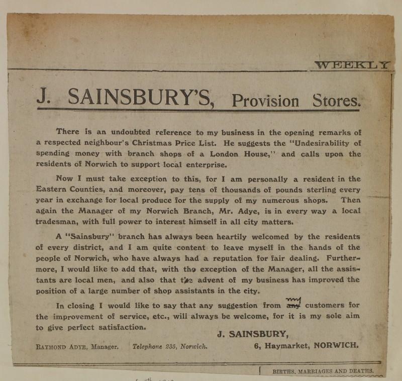 SA/MARK/ADV/1/1/1/1/1/6/1/168 - 'J. Sainsbury's, Provision Stores' newspaper advert