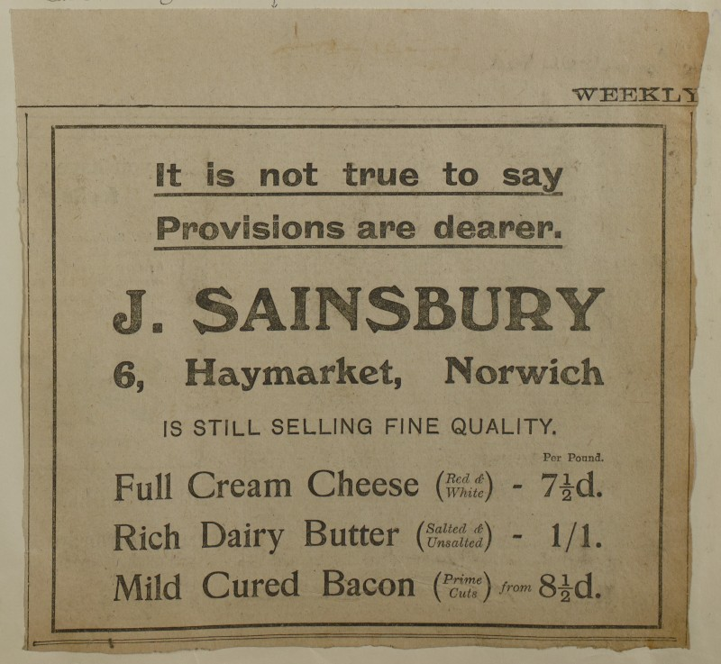 SA/MARK/ADV/1/1/1/1/1/6/1/169 - 'It is not true to say Provisions are dearer' advert for Cheese, Butter and Bacon