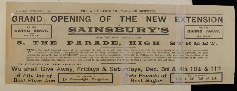 SA/MARK/ADV/1/1/1/1/1/6/1/16 - Newspaper advert for new extension to Watford branch, 1909