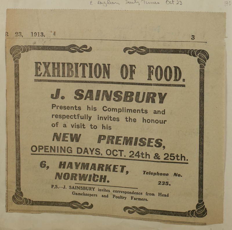 SA/MARK/ADV/1/1/1/1/1/6/1/171 - 'Exhibition of Food' Newspaper advert from The East Anglian Daily Times, 1913