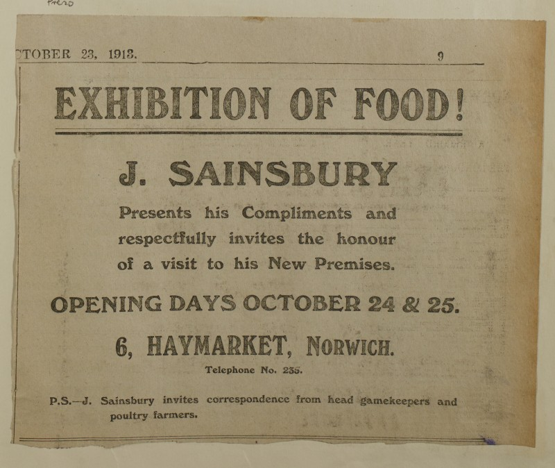 SA/MARK/ADV/1/1/1/1/1/6/1/173 - Newspaper advert for Norwich store opening, from Eastern Evening Press, 1913