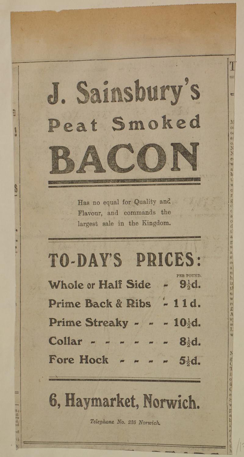 SA/MARK/ADV/1/1/1/1/1/6/1/174 - Newspaper advert for Bacon from The Eastern Weekly Press, 1913