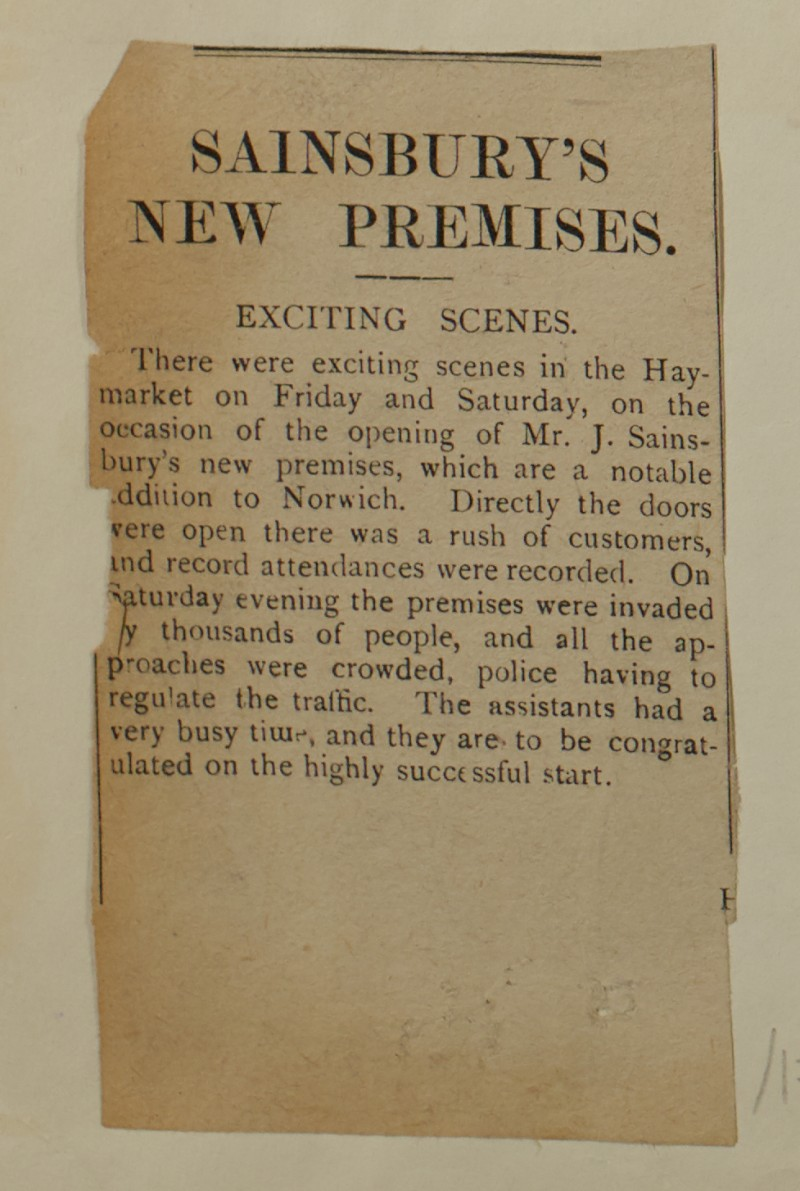 SA/MARK/ADV/1/1/1/1/1/6/1/175 - Small Newspaper news item reporting on stores New Premises Opening from Eastern Weekly Press, 1913