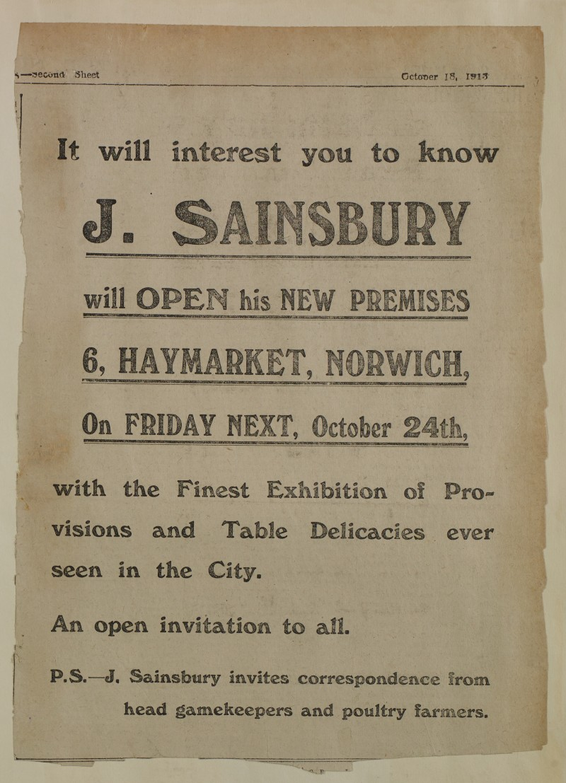 SA/MARK/ADV/1/1/1/1/1/6/1/177 - Newspaper advert for opening of Norwich store, 1913