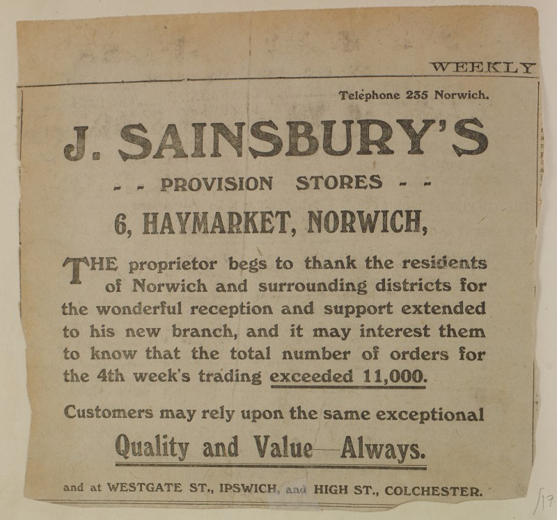 SA/MARK/ADV/1/1/1/1/1/6/1/178 - Newspaper advert for Norwich store opening, 1913