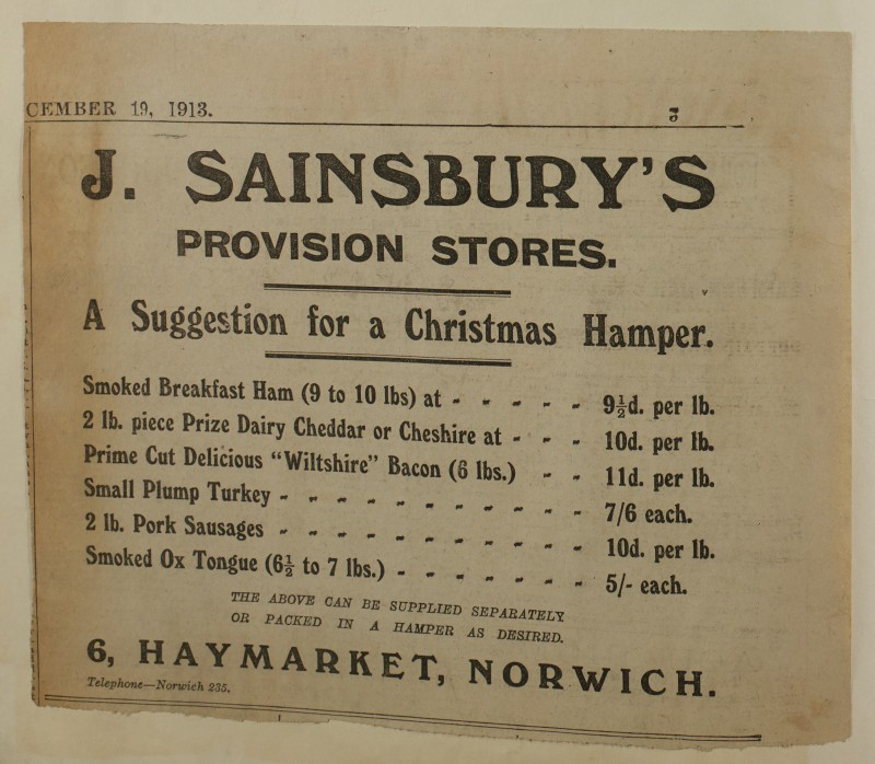 SA/MARK/ADV/1/1/1/1/1/6/1/179 - 'A Suggestion for a Christmas Hamper' advert, 1913