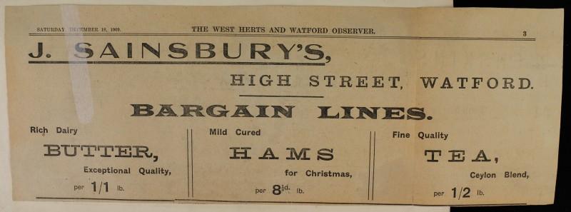 SA/MARK/ADV/1/1/1/1/1/6/1/17 - Butter, Hams and Tea Christmas newspaper advert, 1909