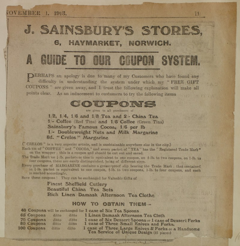 SA/MARK/ADV/1/1/1/1/1/6/1/180 - Newspaper advert 'A Guide To Our Coupon System', 1913