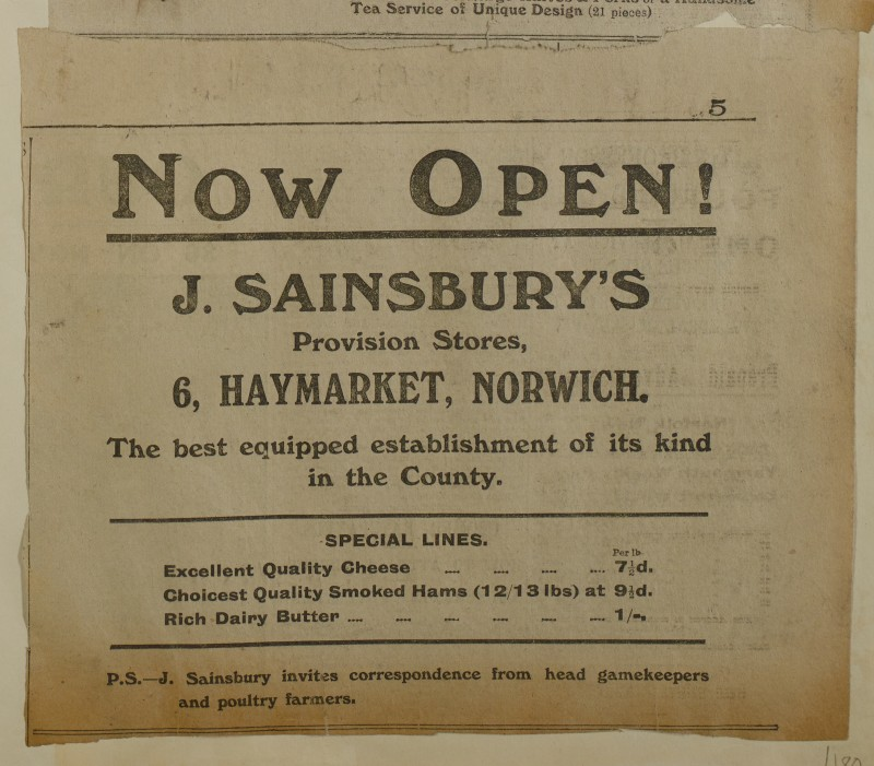 SA/MARK/ADV/1/1/1/1/1/6/1/181 - Newspaper advert for Newly Opened Norwich Store, [1913]