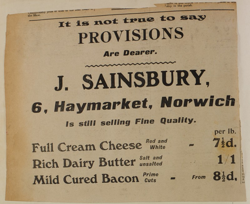 SA/MARK/ADV/1/1/1/1/1/6/1/182 - Newspaper advert for Cheese, Butter and Bacon, [1913]