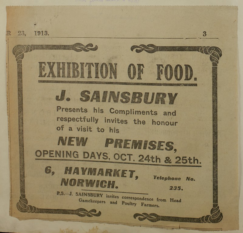 SA/MARK/ADV/1/1/1/1/1/6/1/183 - 'Exhibition of Food' Newspaper advert possibly from The East Anglian Daily Times, 1913