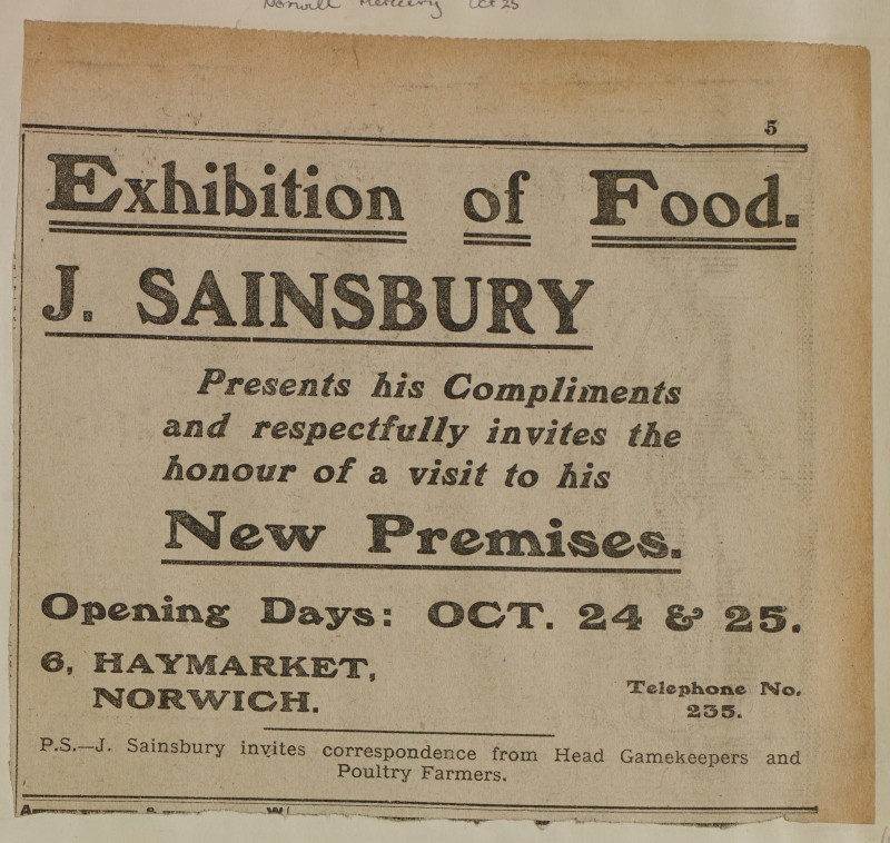 SA/MARK/ADV/1/1/1/1/1/6/1/184 - Newspaper advert from The Norwich Mercury, Food Exhibition at New Premises, Open Day, 1913