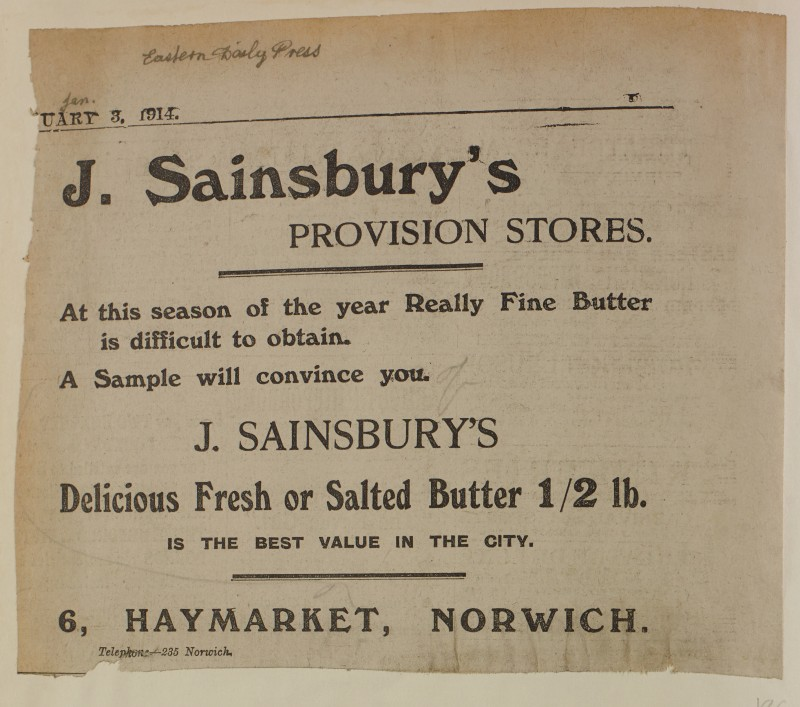 SA/MARK/ADV/1/1/1/1/1/6/1/186 - Newspaper advert for Fresh of Salted Butter from The Eastern Daily Press, 1914