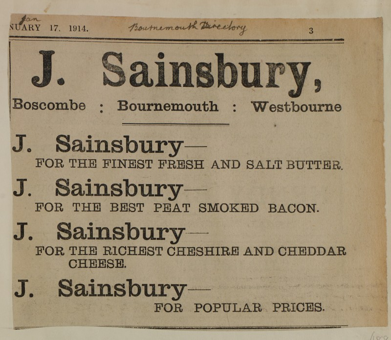 SA/MARK/ADV/1/1/1/1/1/6/1/188 - Newspaper advert for Butter, Bacon and Cheese. Bournemouth Directory, 1914