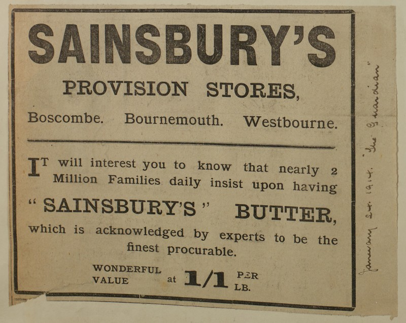 SA/MARK/ADV/1/1/1/1/1/6/1/191 - Newspaper advert for Butter, from The Bournemouth Guardian, 1914