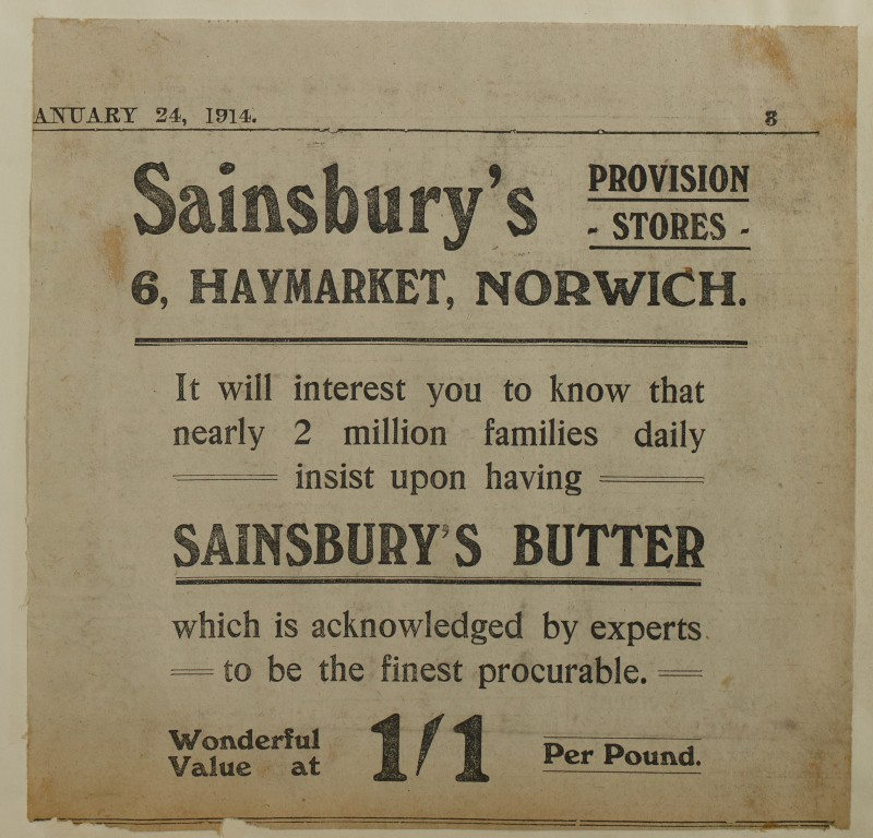 SA/MARK/ADV/1/1/1/1/1/6/1/193 - Newspaper advert for Butter, from The Eastern Evening News or Daily Press, 1914