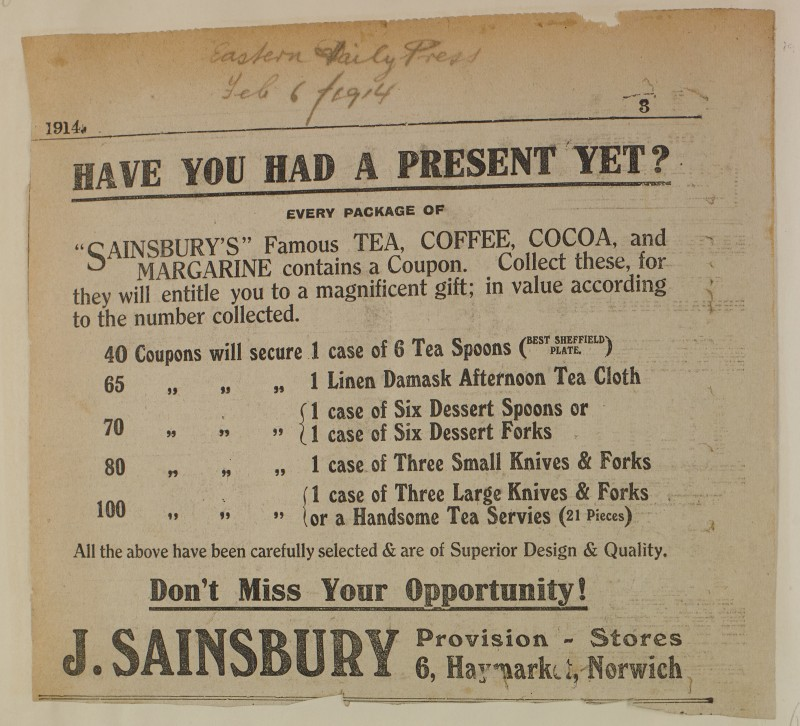 SA/MARK/ADV/1/1/1/1/1/6/1/194 - Newspaper advert for Tea, Coffee, Cocoa and Margarine. Eastern Daily Press, 1914