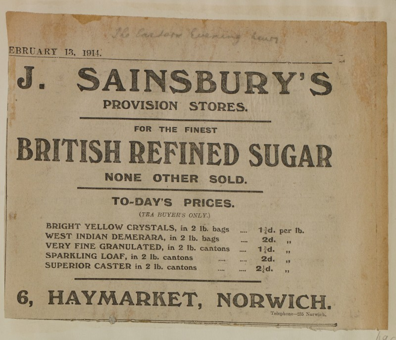 SA/MARK/ADV/1/1/1/1/1/6/1/196 - Newspaper advert for Sugar from The Eastern Evening News, 1914