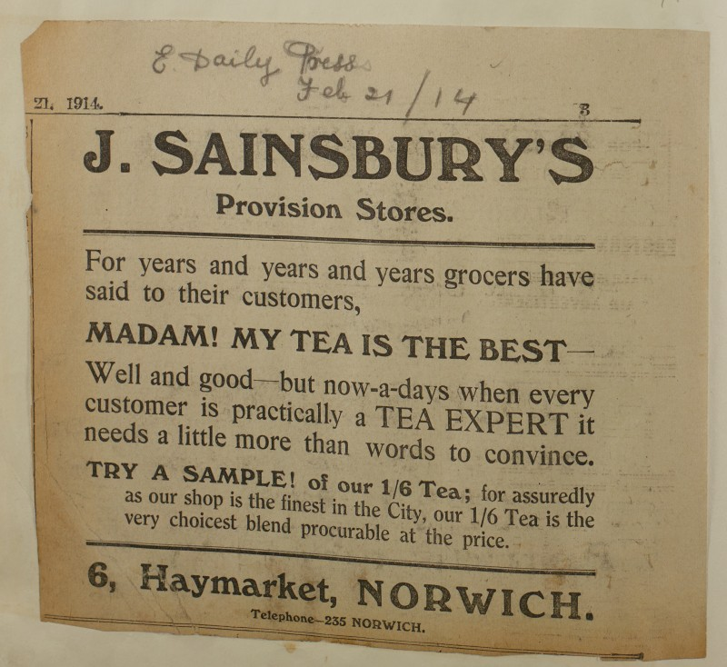 SA/MARK/ADV/1/1/1/1/1/6/1/199 - Newspaper advert for Tea from The Eastern Daily Press, 1914