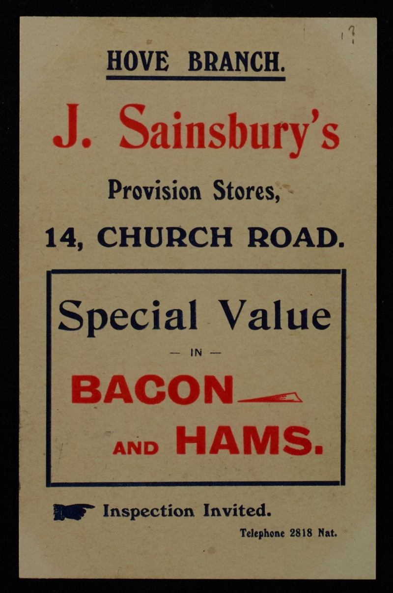 SA/MARK/ADV/1/1/1/1/1/6/1/1 - Bacon and ham advertisement (Hove branch) c. 1909