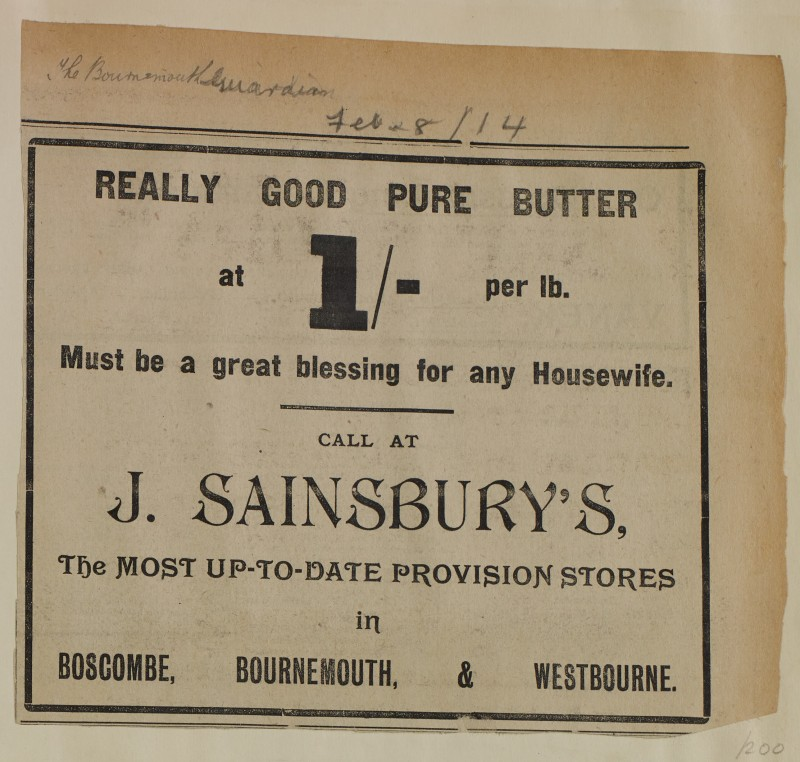 SA/MARK/ADV/1/1/1/1/1/6/1/200 - Newspaper advert for Butter from The Bournemouth Guardian, 1914