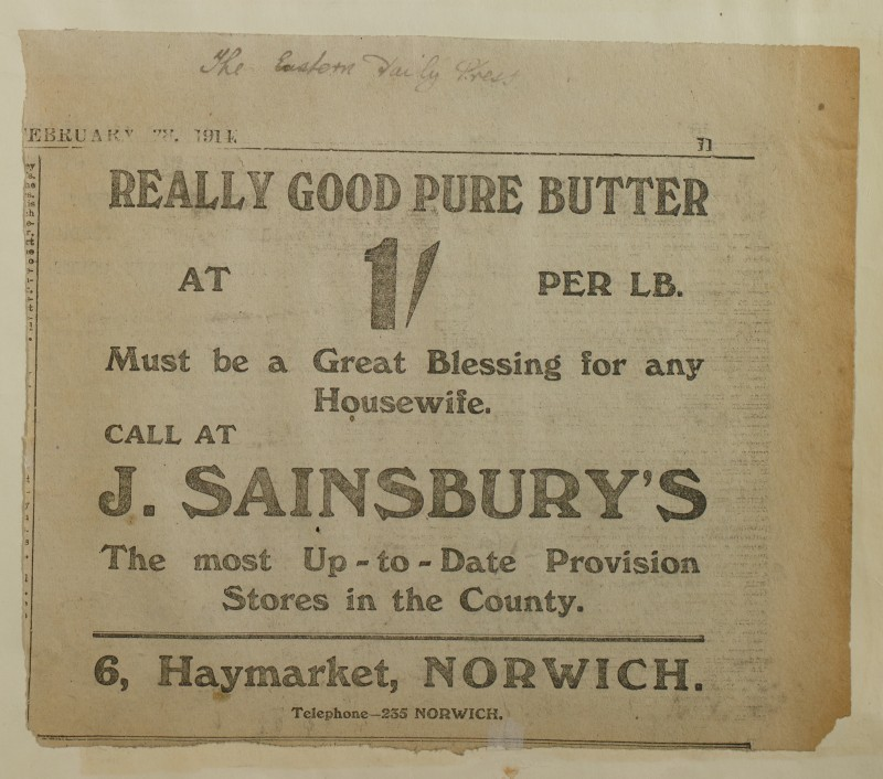 SA/MARK/ADV/1/1/1/1/1/6/1/201 - Newspaper advert for Butter from The Eastern Daily Press, 1914