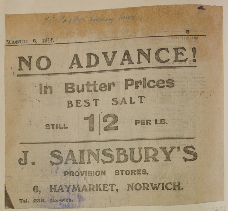 SA/MARK/ADV/1/1/1/1/1/6/1/202 - Newspaper advert for Butter, from The Eastern Evening News, 1914
