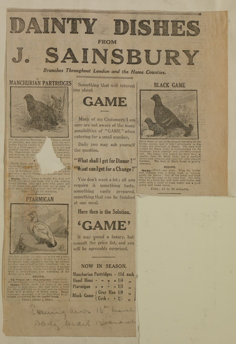 SA/MARK/ADV/1/1/1/1/1/6/1/204 - Newspaper advert for Game from The Evening News, 16 March 1914, and The Daily Mail, 12 March 1914