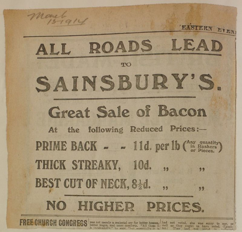 SA/MARK/ADV/1/1/1/1/1/6/1/205 - Newspaper advert for Bacon, from The Eastern Evening News, 1914