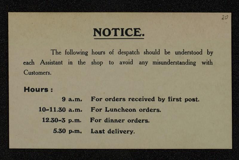 SA/MARK/ADV/1/1/1/1/1/6/1/20 - Printed Card Notice regarding Despatch schedule for Staff, 1909