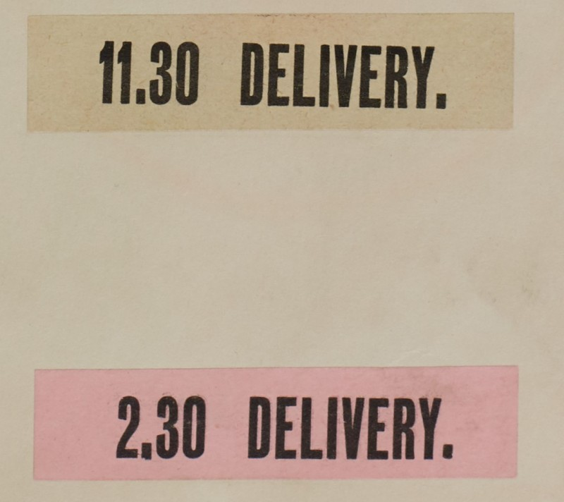"""SA/MARK/ADV/1/1/1/1/1/6/1/22 - """"11.30 Delivery."""" and """"2.30 Delivery"""" printed labels"""