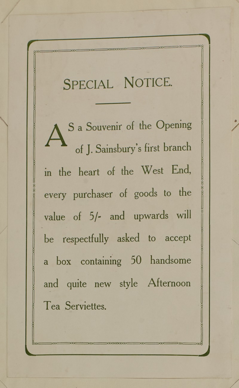 SA/MARK/ADV/1/1/1/1/1/6/1/23 - Opening of new Branch Souvenir advert special notice, 1910