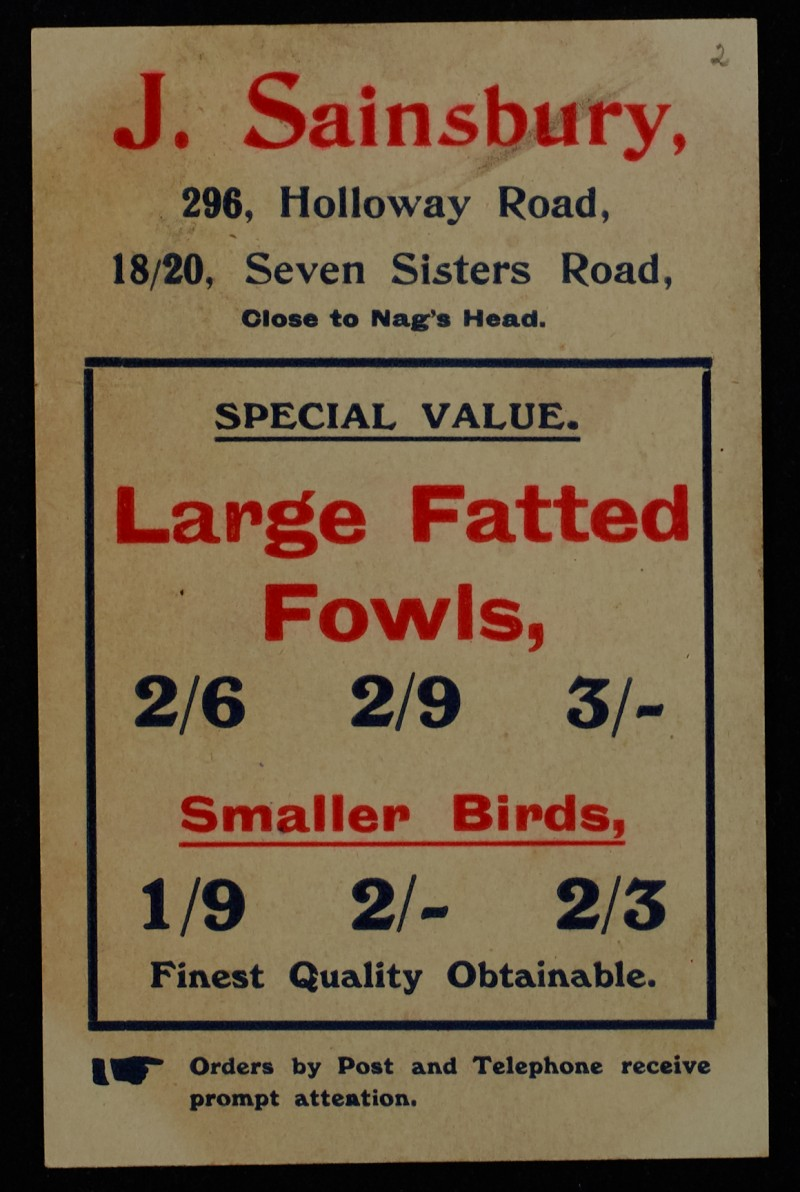 SA/MARK/ADV/1/1/1/1/1/6/1/2 - Fowls and birds advertisement (296 Holloway Rd and 18/20 Seven Sisters Rd branches) c. 1909