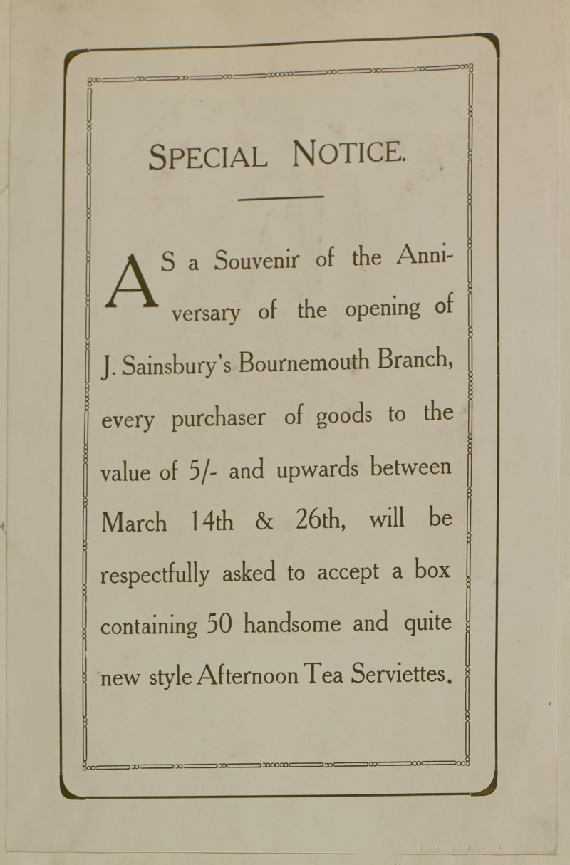 SA/MARK/ADV/1/1/1/1/1/6/1/30 - Opening of new branch souvenir advert special notice, 1910