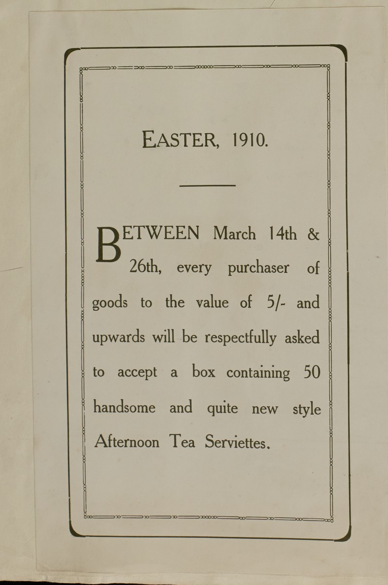 SA/MARK/ADV/1/1/1/1/1/6/1/31 - Easter special offer and free gift souvenir advertisement, 1910