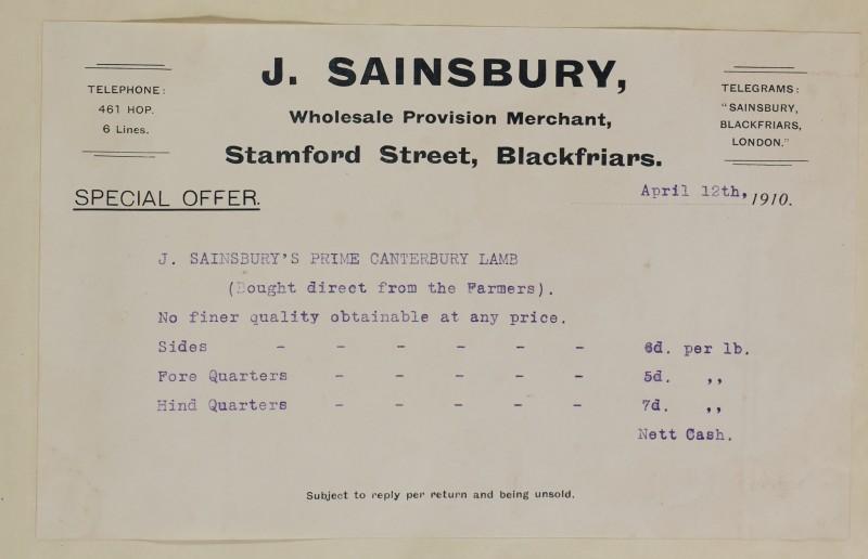 SA/MARK/ADV/1/1/1/1/1/6/1/32 - Special Offer notice advertisement for Canterbury lamb, Blackfriars, 1910