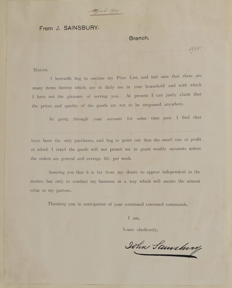 SA/MARK/ADV/1/1/1/1/1/6/1/33 - Letter to customers to accompany price list, 1910