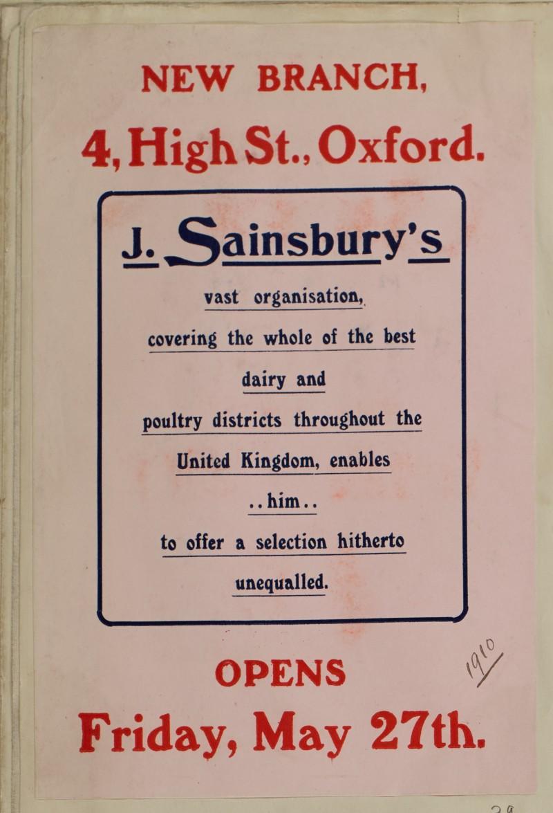 SA/MARK/ADV/1/1/1/1/1/6/1/39 - New Branch Opening Advert, 1910