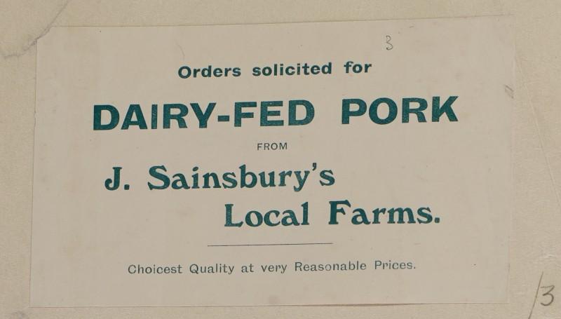 SA/MARK/ADV/1/1/1/1/1/6/1/3 - Dairy-fed pork advertisement c. 1909