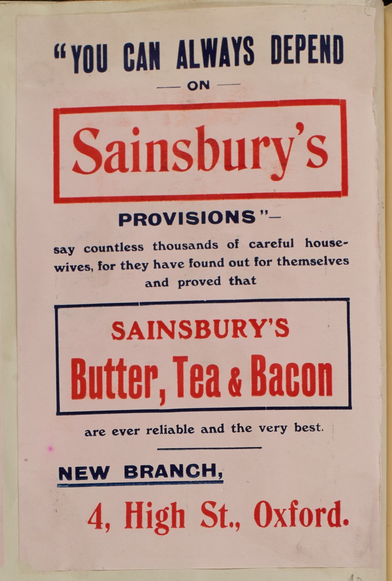 SA/MARK/ADV/1/1/1/1/1/6/1/40 - Advert for Butter, Tea and Bacon at store opening, 4 High Street, Oxford [1910]