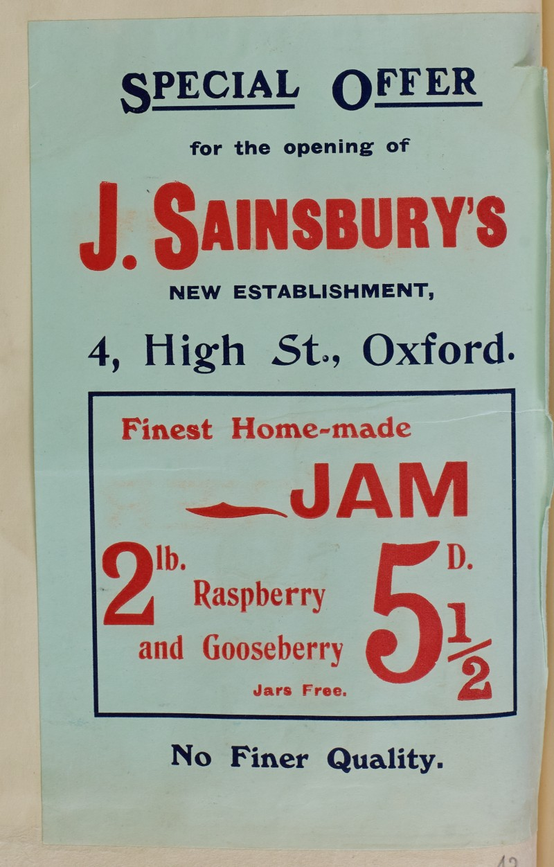 SA/MARK/ADV/1/1/1/1/1/6/1/42 - Special Branch Opening Offer for Jam, 4 High Street Oxford, [1910]