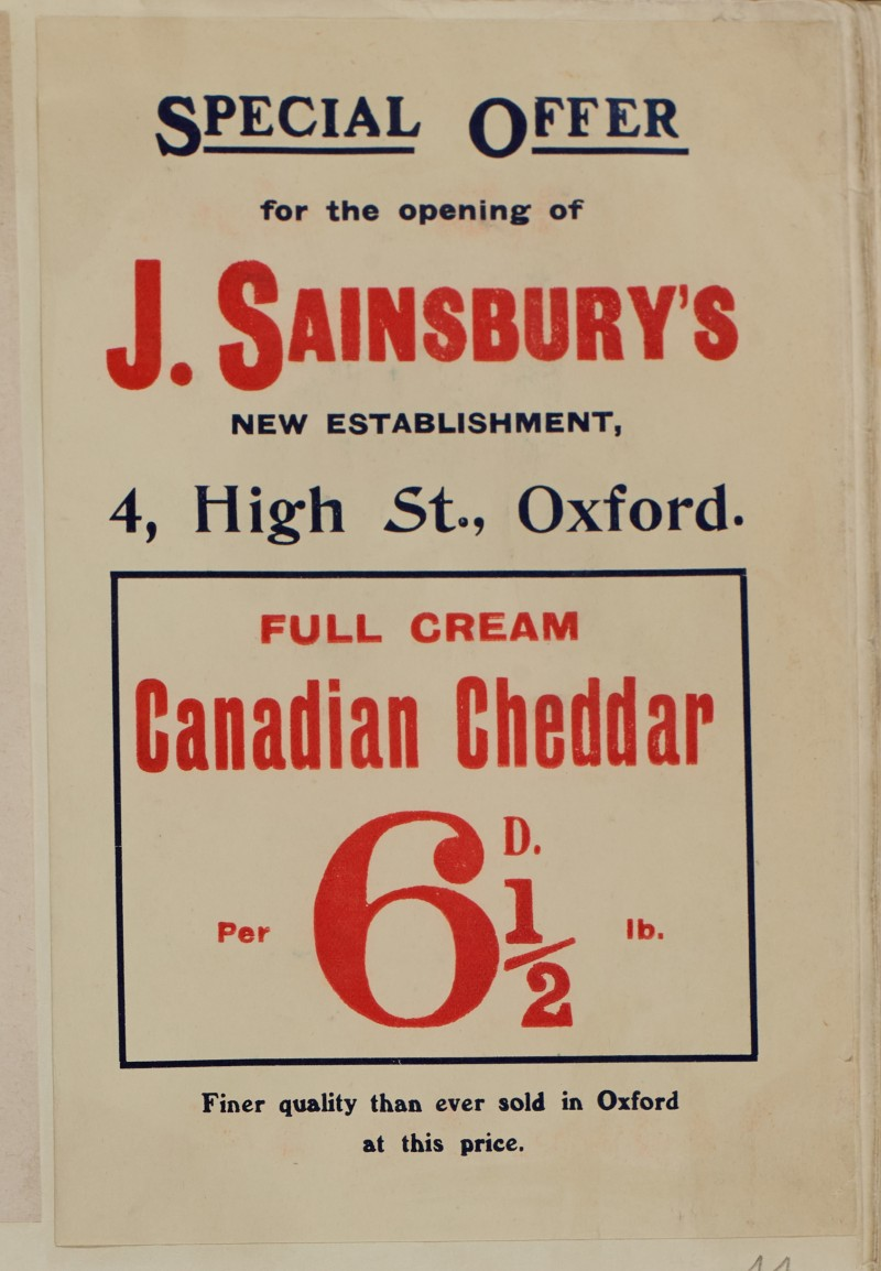SA/MARK/ADV/1/1/1/1/1/6/1/44 - Special Branch Opening Offer for Cheddar, 4 High Street Oxford, [1910]