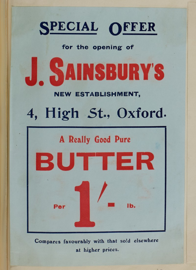 SA/MARK/ADV/1/1/1/1/1/6/1/45 - Special Branch Opening Offer for Butter, High Street Oxford [1910]