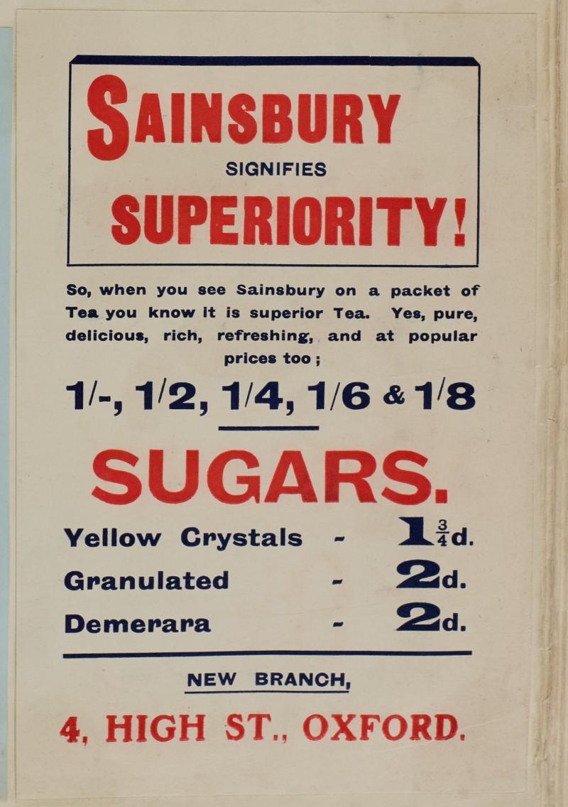 SA/MARK/ADV/1/1/1/1/1/6/1/46 - New Branch Advert for 4 High Street, Oxford, Tea and Sugar, [1910]
