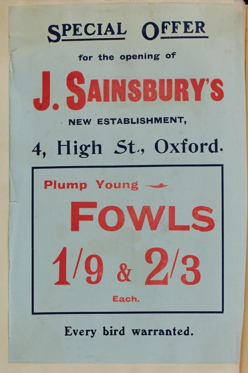 SA/MARK/ADV/1/1/1/1/1/6/1/48 - Fowls advertisement for 4 High Street, Oxford branch [1910]