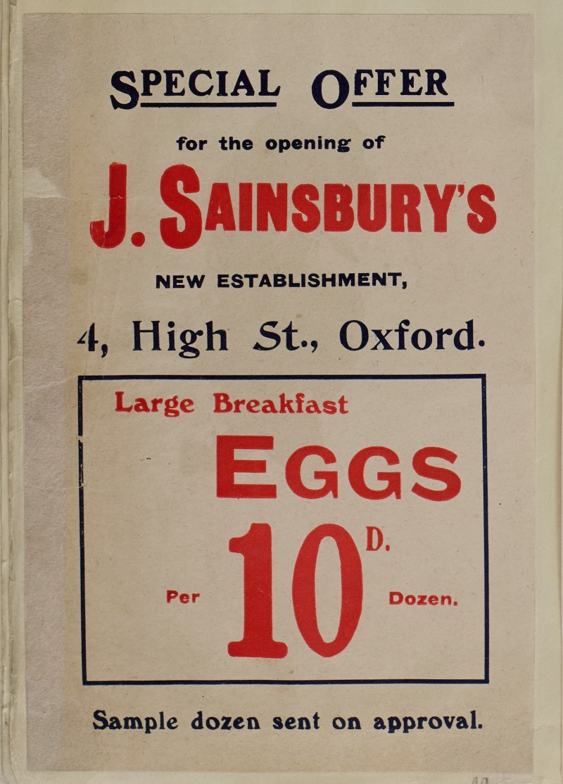 SA/MARK/ADV/1/1/1/1/1/6/1/49 - Eggs advertisement for new branch at 4 High Street, Oxford [1910]