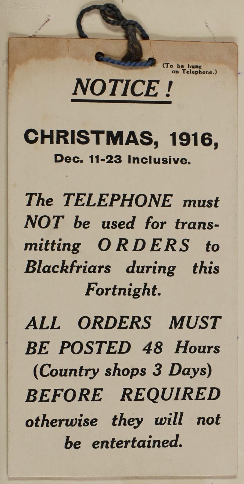 SA/MARK/ADV/1/1/1/1/1/6/1/51 - Christmas orders notice, 1916